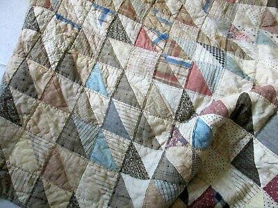 ANTIQUE PATCHWORK QUILT FULL 74x82 Triangles Muted Color Ticking Handsewn AS IS