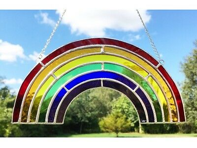 Handmade Stained Glass Rainbow Suncatcher Rainbow Coloured Glass Decoration