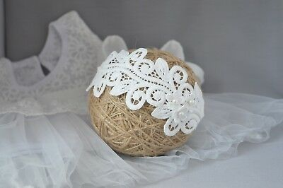 Lace headband, off white baby hair band for baptism christening Handmade flower