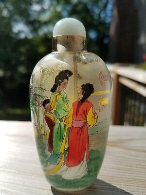 Chinese glass snuff bottle, reverse inside painted