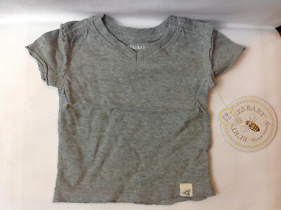 Lot of 2 Burt's Bees Baby T-Shirts Grey V Neck 100% Organic Cotton 0-3 Months