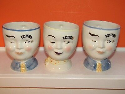 3 Bailey's Irish Creme Winking Face 1997 Limited Edition Footed Yum Mugs