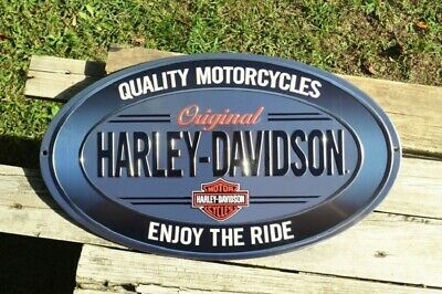 Harley Davidson Enjoy The Ride Oval Embossed Tin Metal Sign - Bar and Shield