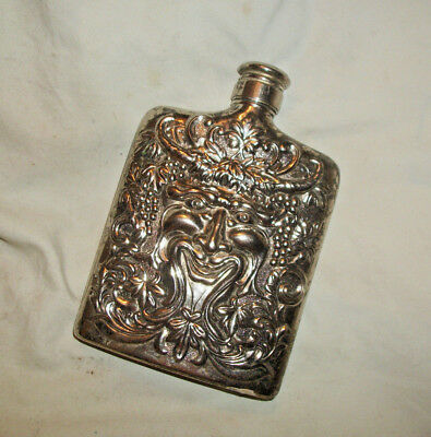 Vintage Godinger Silverplate Whiskey Flask Bacchus Repousse
