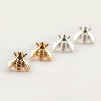 Silver or Gold Tiny Honey Bee Bumblebee Earrings UK Studs