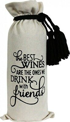 "Wine bottle gift bag ""friends"" with tassle handles birthdays parties friends"