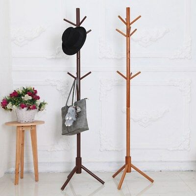 Wooden Clothes Holder Coat Rack Tree Shape Hat Jacket Stand Hanger with 9 Hooks