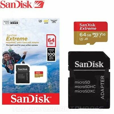 SanDisk- Extreme 64 GB, Micro SD Class 10 (100MB/s) - SDXC Card&Adapter