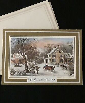 Vintage lot of 11 UNUSED Currier & Ives Christmas Greeting Cards w/ Envelopes