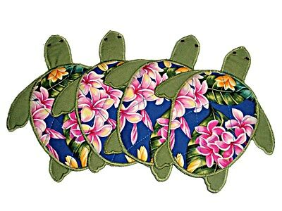 HAWAIIAN FLOWERS & HONU TURTLES QUILTED & EMBROIDERED COASTERS Set of 4 NEW