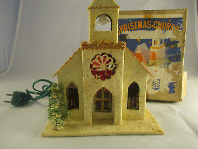 Vintage Japan Christmas Cardboard Church w Bell Tower ~ Lighted