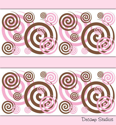 Pink Brown Spiral Wallpaper Border Wall Art Decal Girl Nursery Swirl Stickers