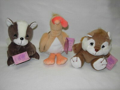 Precious Moments Tender Tails Lot of 3  CHIPMUNK  SKUNK  TURKEY  Beanbag plush