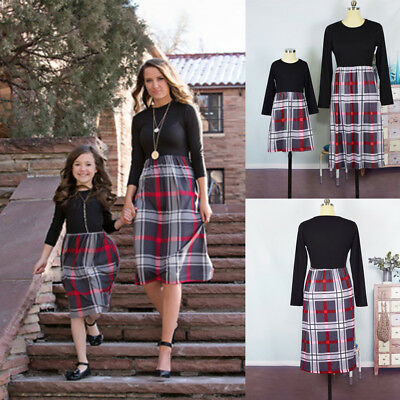 Plaid Mother and Daughter Matching Outfits Striped Parent-child Clothes dress