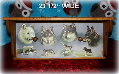 """*NEW* WOOD WALL SHELF WITH WOLVES AND 2 HANGING PEGS 23 1/2"""" x 9 3/4"""""""