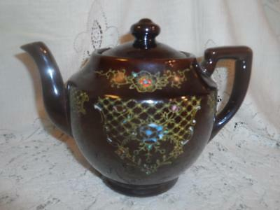Vintage~Antiq Hand-Painted Japan RedWare Art Pottery Brown Betty Moriage Tea Pot