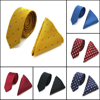Factory Mens Pocket Square Neck Tie Set Silk Woven Skinny Slim Necktie Hanky Lot