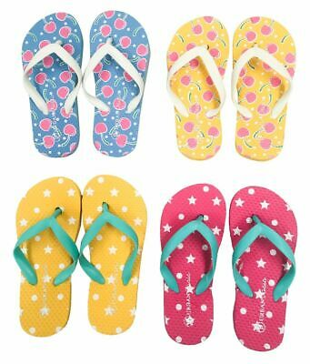 Kids Girls Sizes 9-1 Summer Beach Surf Thongs (18599) Mixed Designs & Colours