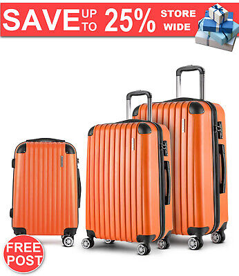 Wanderlite 3 Piece Lightweight Hard Suit Case Luggage Orange Warranty Fast Post