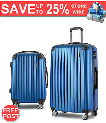 Wanderlite 2 Piece Lightweight Hard Suit Case Luggage Blue Warranty Fast Postage