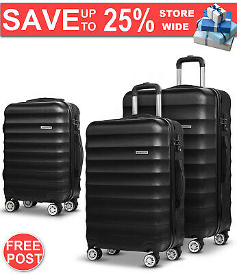 Wanderlite 3 Piece Lightweight Hard Suit Case Luggage Black Warranty Fast Post