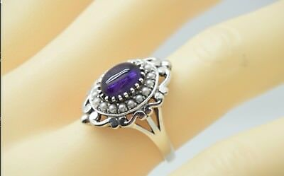 Sterling Silver Amethyst And Pearl Antique Style Ring. Stunning. Size 6
