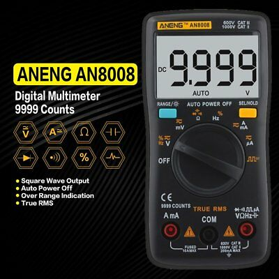 AN8008 Digital Multimeter 9999 Counts True RMS AC/DC Volt Amp Ohm Diode TesterMK