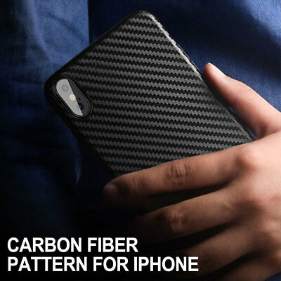 For iPhone Xs Max X 8 7 Ultra Thin Slim Matte Carbon Fiber Hard Back Case Cover