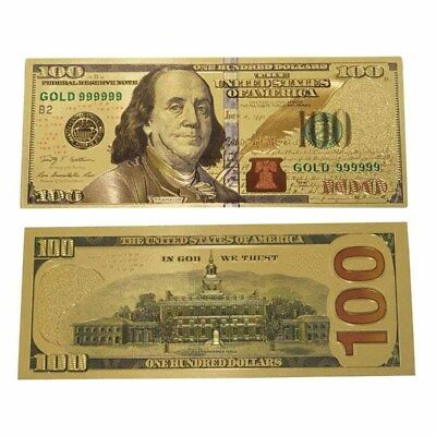 Gold Foil $100 Dollars USD Money Banknotes Currency Commemorative Coins Crafts