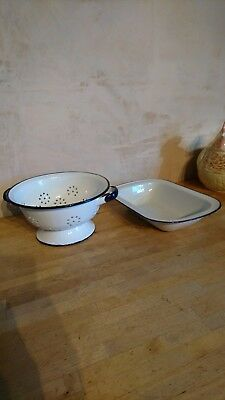 Vintage Enamel Colander Blue & White Made In Poland + Small Roasting Dish