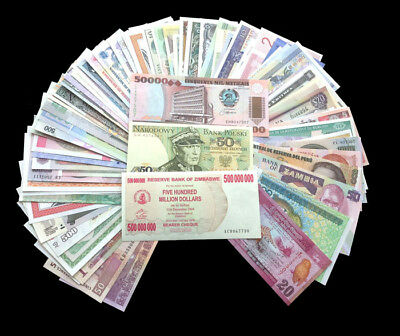 100 Different banknote collection lot from 50 countries. Uncirculated UNC New