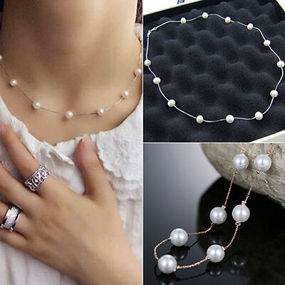 Fashion Women Charm Jewelry Pendant Chain Faux Pearl Choker Short Necklace Delux