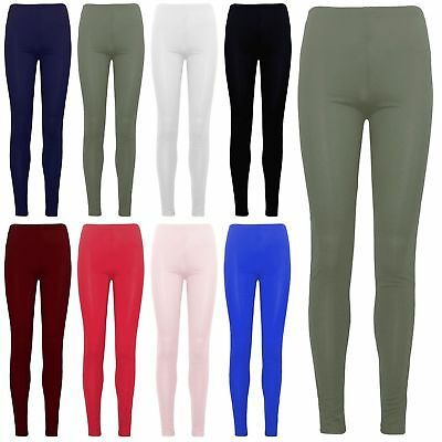 Ladies Womens Kids Viscose Plain Stretchy Soft Leggings Elasticated Waist 2Y-26