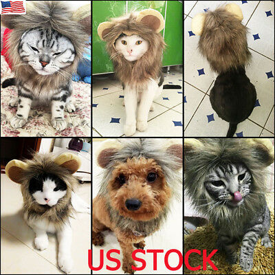 eecbda6be Furry Pet Hat Costume Lion Mane Wig For Cat Halloween Dress Up With Ears  Party