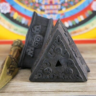 Tibet Buddhism Carved Phurba Dagger Wooden Black Triangle Base Pedestal Holder