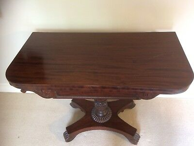 Antique Regency Mahogany Card Table early 1810s Fold Over Beize Card portion