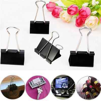 12Pcs Metal Binder Clips Black File Paper Clip Photo Stationary Office Supplies