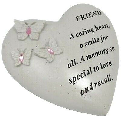 Special Friend Butterfly Pink Gem Heart Memorial Graveside Ornament Plaque New