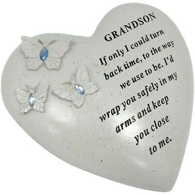 Special Grandson Butterfly Gem Heart Graveside Memorial Tribute Ornament  Plaque