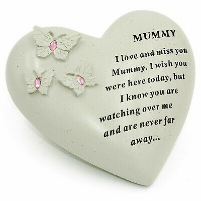 Mummy Butterfly Gem Heart Graveside Memorial Ornament Plaque Tribute Pink New