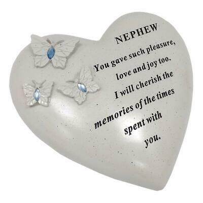 Nephew Butterfly Gem Heart Graveside Memorial Ornament Decoration Stone Plaque