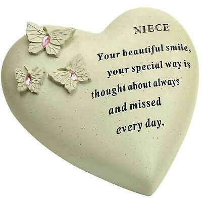 Niece Butterfly Gem Heart Memorial Plaque Graveside Remembrance Ornament tribute