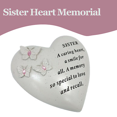 Special Sister Graveside Memorial Butterfly Gem Heart Ornament Tribute Plaque