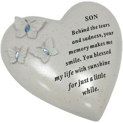Son Butterfly Gem Heart Graveside Memorial Ornament Decoration Tribute Plaque
