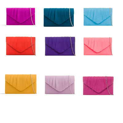 Women Suede Clutch Envelope Style Bridal Party Prom Evening Wedding Clutch Bag
