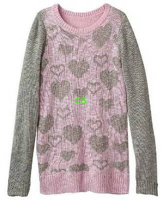 NWT $46-Girls Plus Size SO Gray & Pink Heart Lurex Long Sleeve Sweater-size 20.5