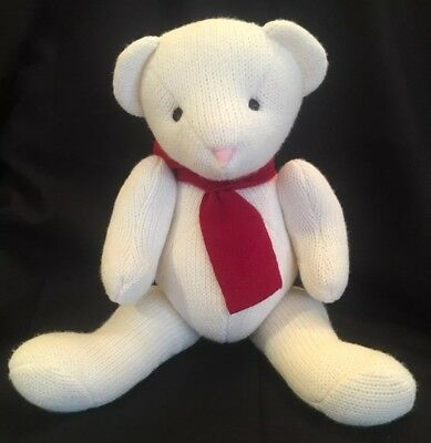Pottery Barn Kids Knit Plush Teddy Bear Jointed White Red Scarf Winter Christmas