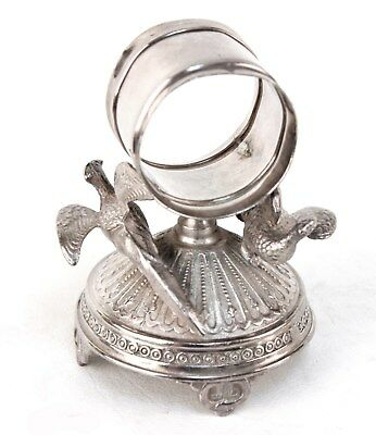 Meriden Silver Plated Figural Napkin Ring Two Pheasants #271