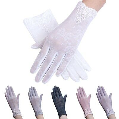 Multi-Color Women Summer Lace Silk Gloves Ladies Outdoor Anti UV Sun Mittens AU