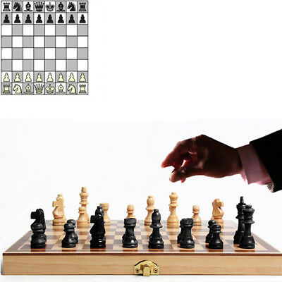 Vintage-Wooden-Chess-Game-Hand-Carved-Board-Pieces-Large-21-Inch-Full-Set-New  V